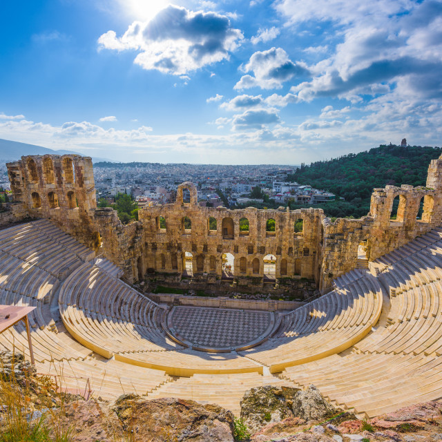 """""""Ancient greek Odeon theater on the Acropolis slopes, Athens, Greece."""" stock image"""