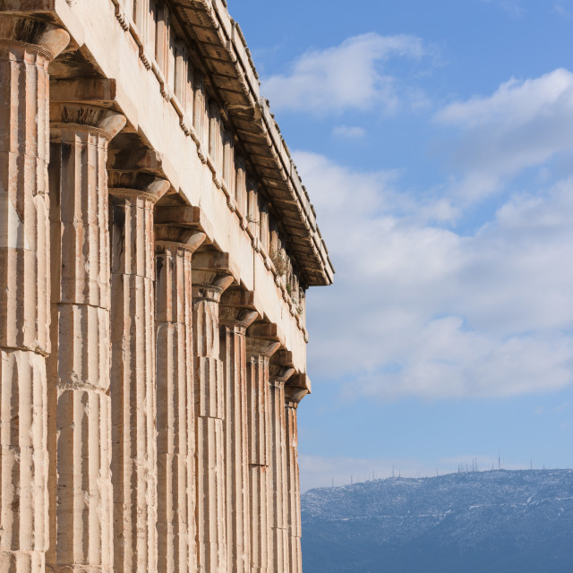 """""""Peristyle of the greek temple of Hephaistos, in Athens Agora (detail)."""" stock image"""