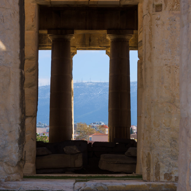 """""""View of the cella in the temple of Hephaistos, in the greek Agora, Athens,..."""" stock image"""