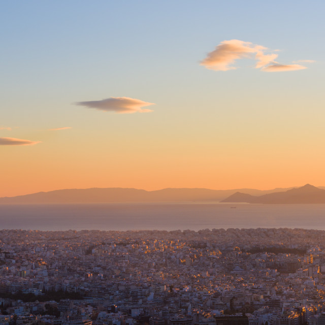 """""""Aerial view of Athens (Greece), with Pireus port and Mediterranean Sea, with..."""" stock image"""