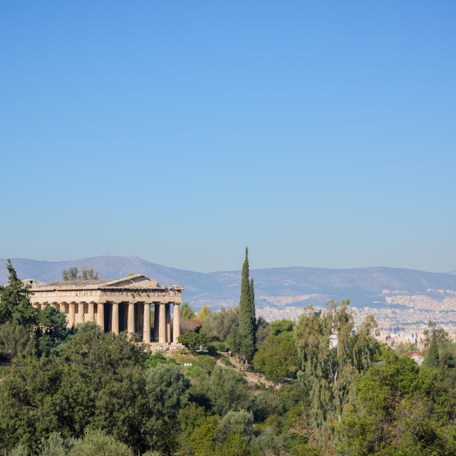 """""""Athens ancient Greek Agora with Hephaistos theatre and city landscape, Greece."""" stock image"""