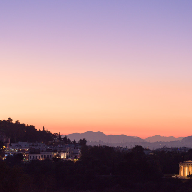 """""""Sunset view of Athens ancient Agora, with Hephaistos temple and the National..."""" stock image"""