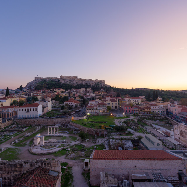 """""""Athens ancient city with Hadrian's library and the Acropolis, at sunset, in..."""" stock image"""