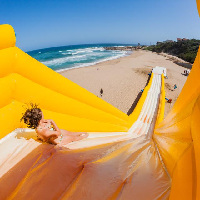 """Beach Girl Tall High Water Slide"" stock image"