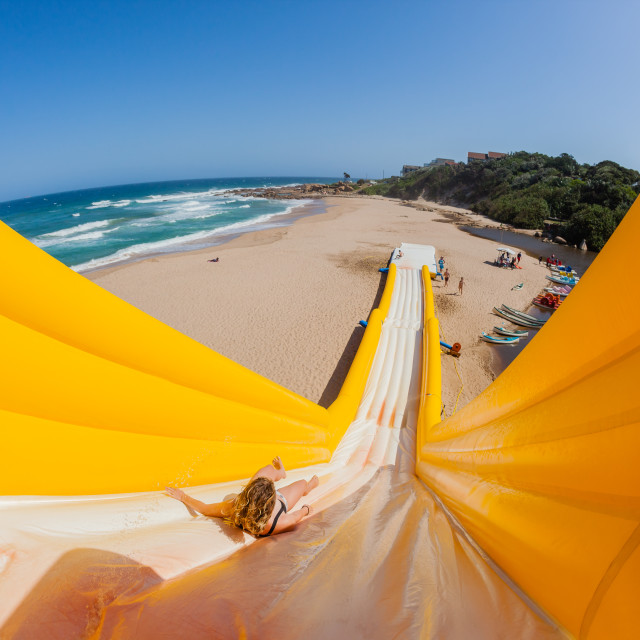 """Beach Girl Tall High Water Slide Tall High Water Slide"" stock image"