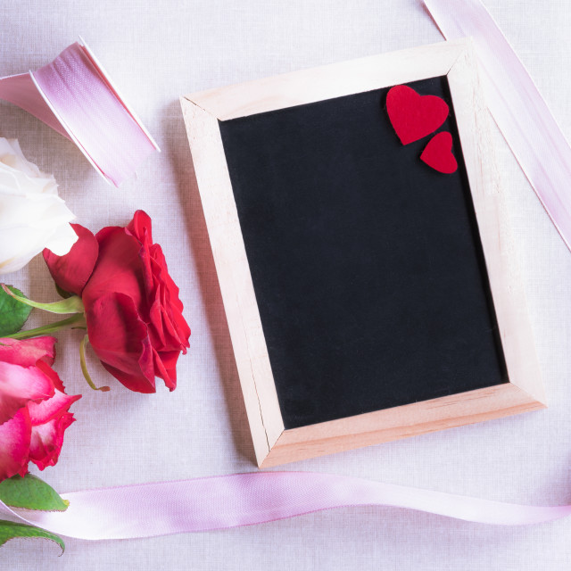 """""""Chalkboard with red hearts and roses"""" stock image"""
