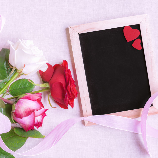 """""""Roses and chalkboard with red hearts"""" stock image"""