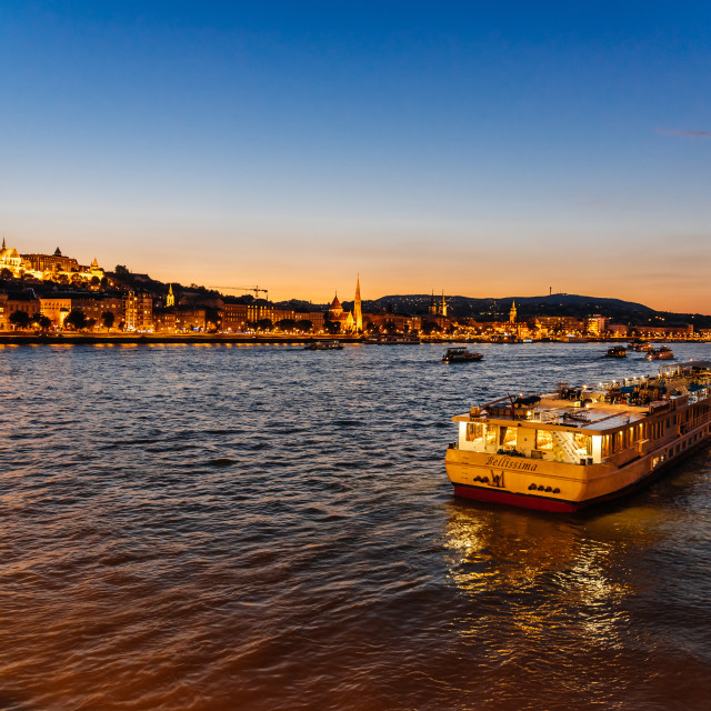"""Cruise ship for tourists moored in Danube river in Budapest at n"" stock image"