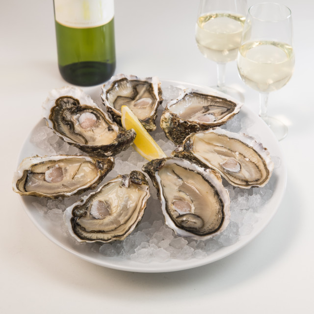 """""""Oysters on ice and with a piece of lemon and wine"""" stock image"""