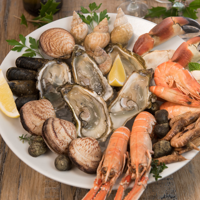 """""""Fresh seafood platter with lobster mussels and oysters"""" stock image"""