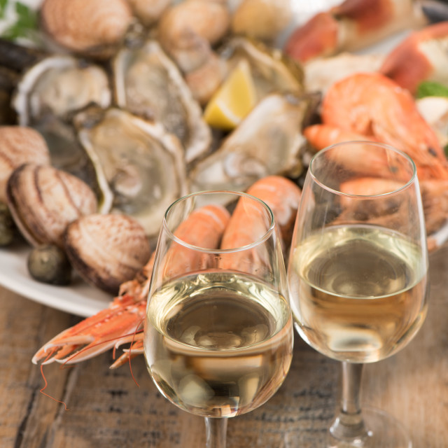 """Fresh seafood platter with lobster mussels and oysters"" stock image"