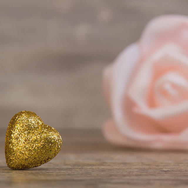 """Valentines Day background with two golden hearts"" stock image"