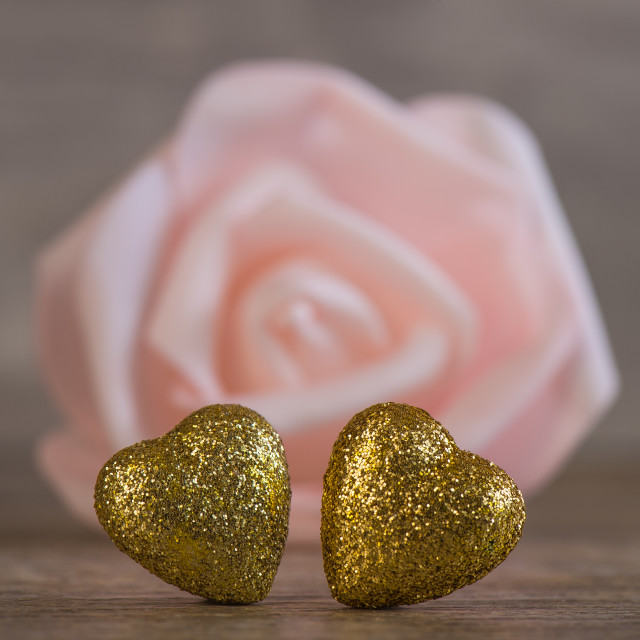 """""""Valentines Day background with two golden hearts"""" stock image"""