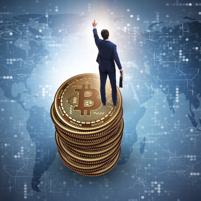 """""""Businessman in cryptocurrency blockchain concept"""" stock image"""