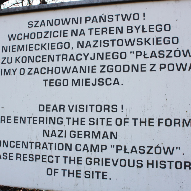 """Kraków: Płaszów concentration camp sign"" stock image"