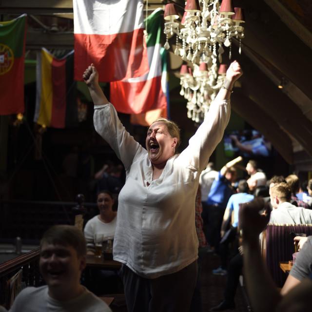 """Euro:England Fans Celebrate Win Over Wales ,UK."" stock image"