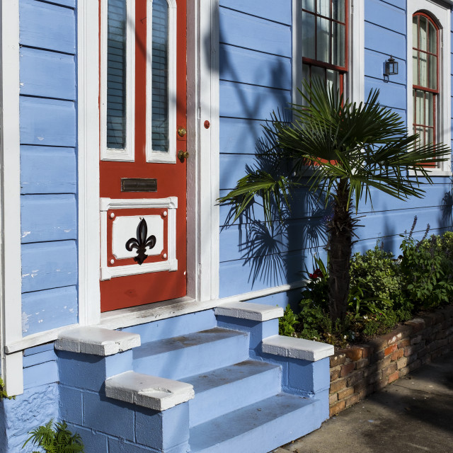 """Detail of the door and facade of a colorful house in the Marigny neighborhood in the city of New Orleans, Louisiana, USA"" stock image"