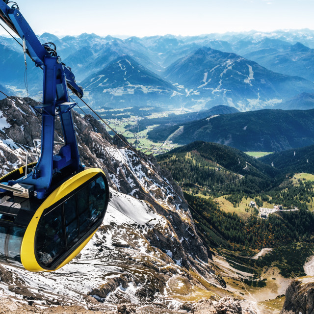 """""""Cable car in Austrian Alps"""" stock image"""