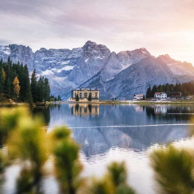 """Misurina lake in Dolomites, Italy."" stock image"