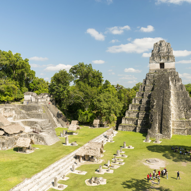 """Tourists At Temple I In Tikal"" stock image"