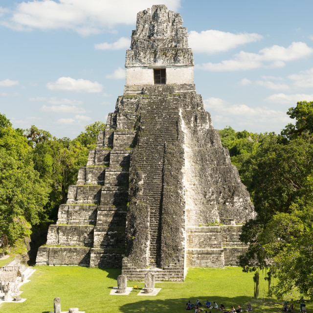 """Tourists At The Jaguar Temple In Tikal"" stock image"