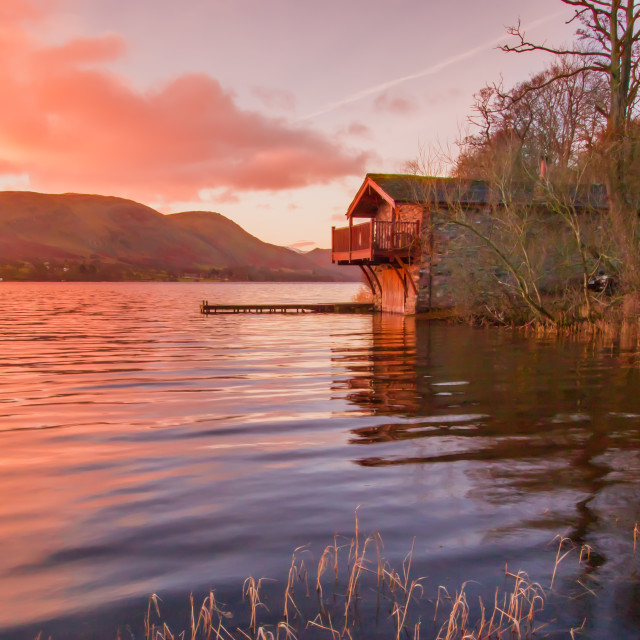 """Ullswater Boathouse, The Lake District"" stock image"