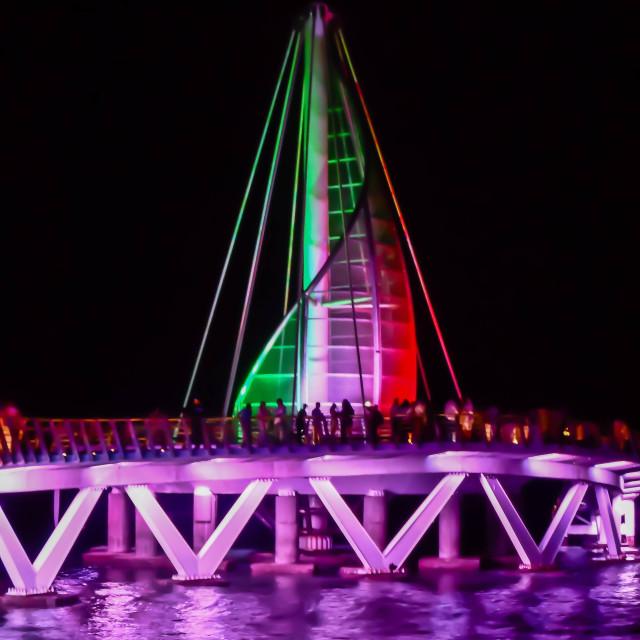 """""""Puerto Vallarta Pier at Night"""" stock image"""