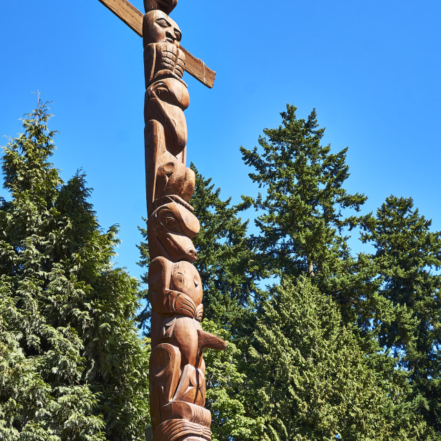 """Totem, Stanley Park, Vancouver"" stock image"