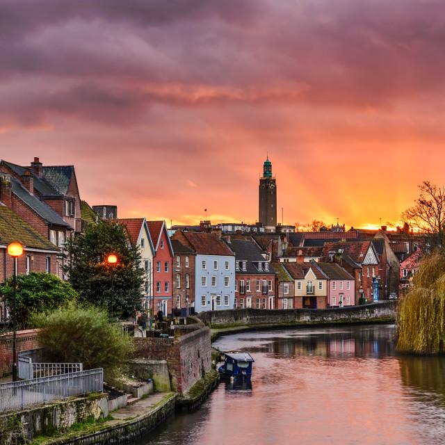 """Norwich Quay Sunset"" stock image"