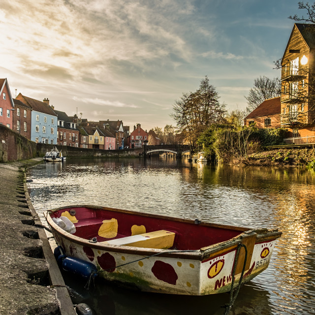 """""""Dingy at Norwich Quay"""" stock image"""