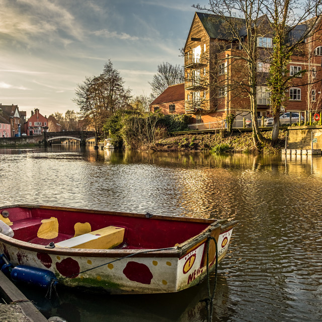 """Dingy at Norwich Quay"" stock image"