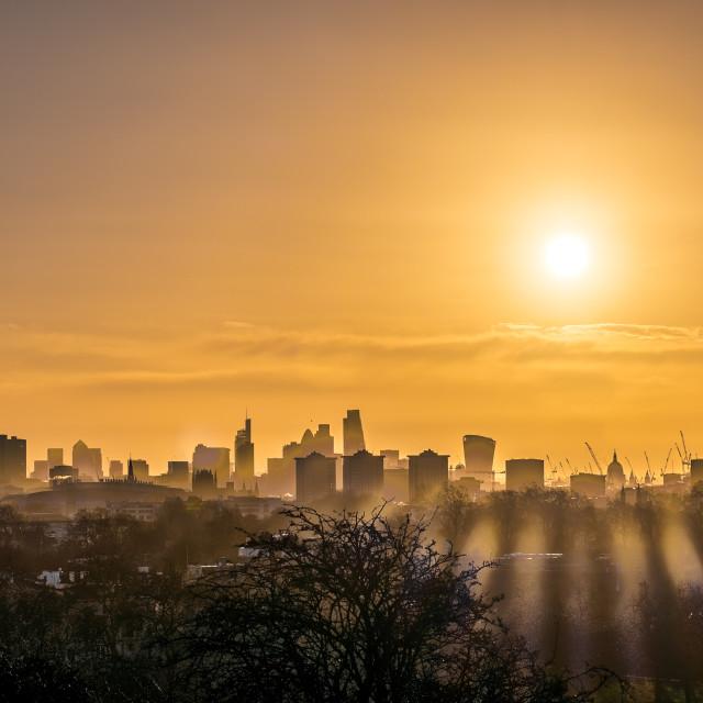 """Sunrise over London"" stock image"