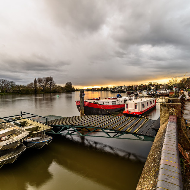 """""""Water Craft on the Thames"""" stock image"""