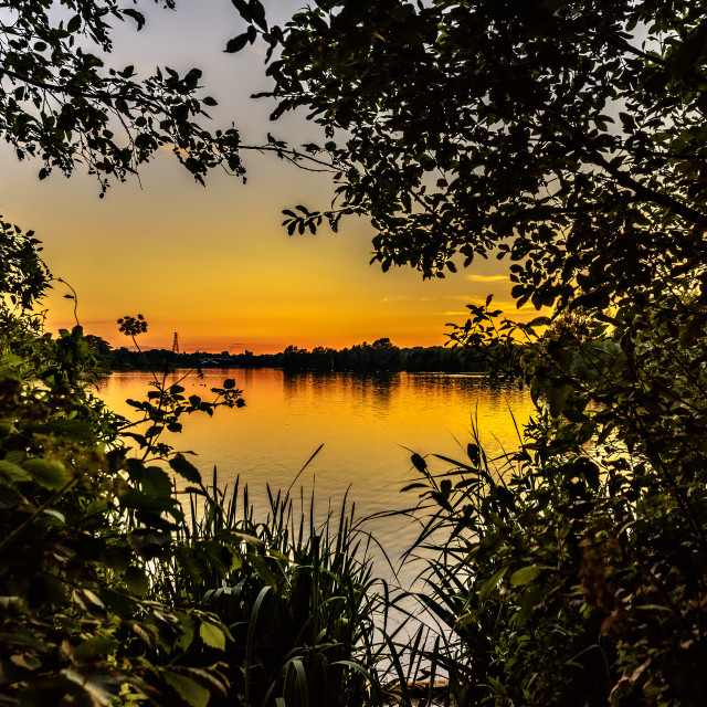 """Norfolk Broads Sunset"" stock image"