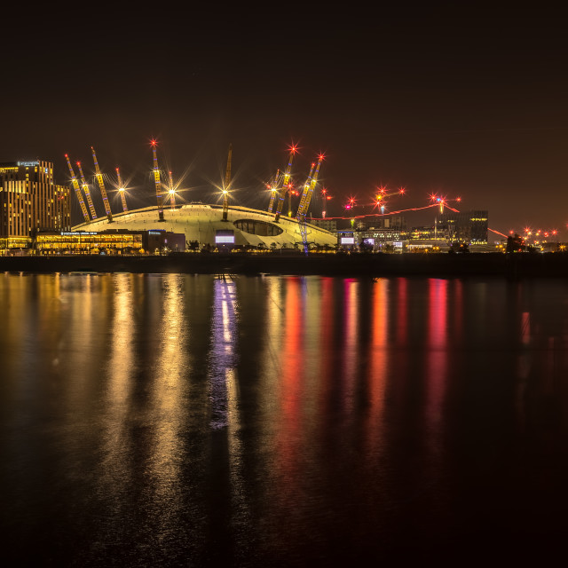 """""""The O2 lit up at Night"""" stock image"""