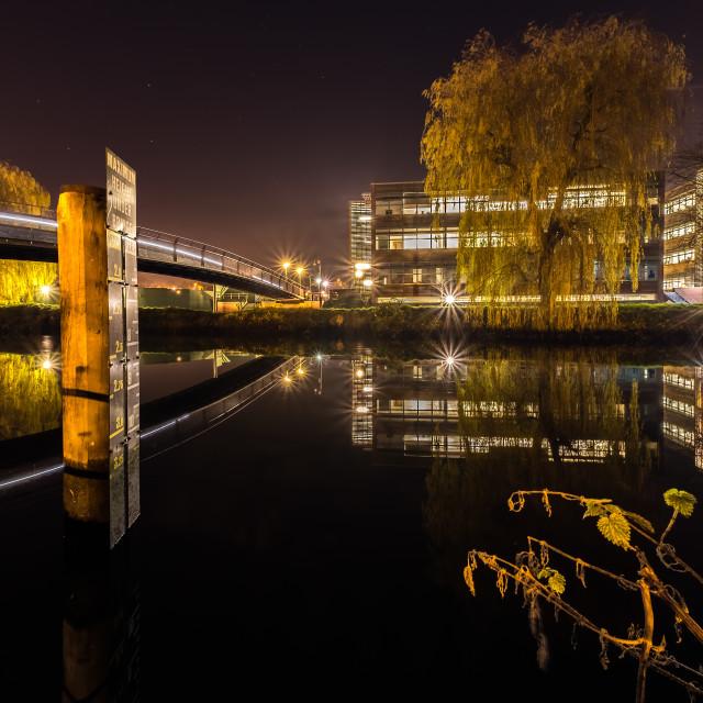 """Norwich Night Reflections"" stock image"