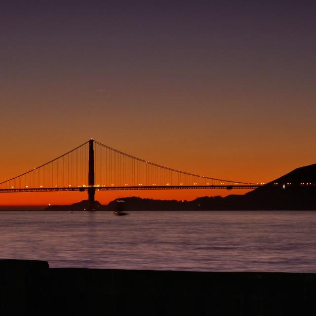 """""""Golden Gate sunset"""" stock image"""