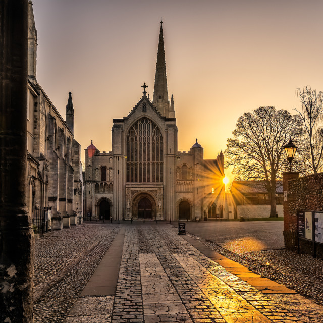 """Norwich Cathedral Sun rays"" stock image"