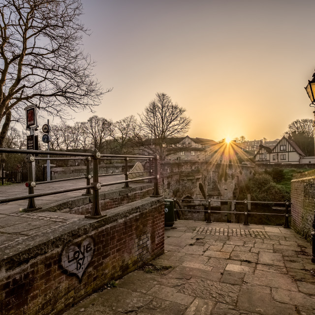 """Sunrise at Bishops Bridge"" stock image"