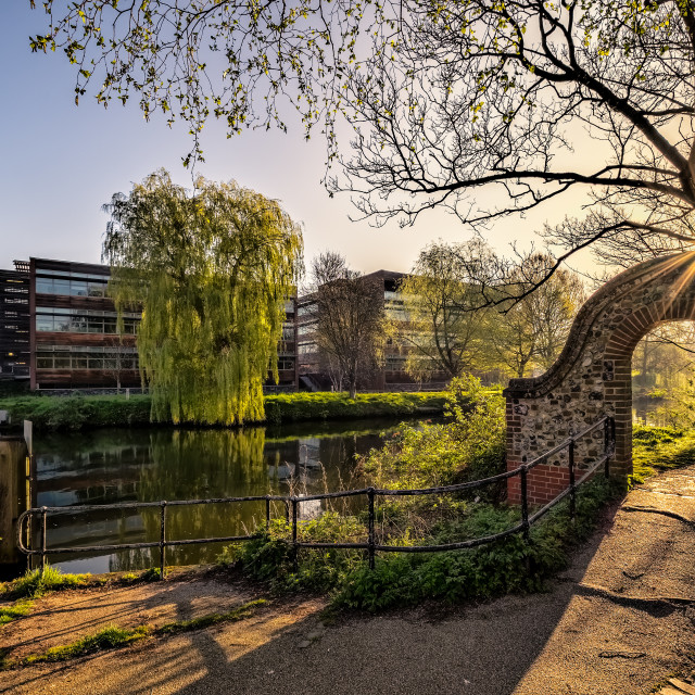 """Sun rays Norwich river walk"" stock image"