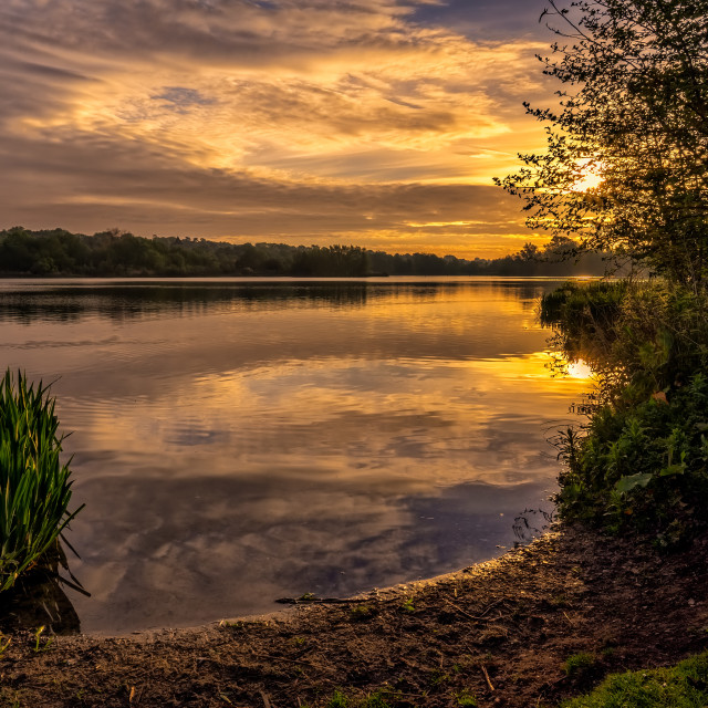"""Sunrise at Whitlingham Country Park"" stock image"
