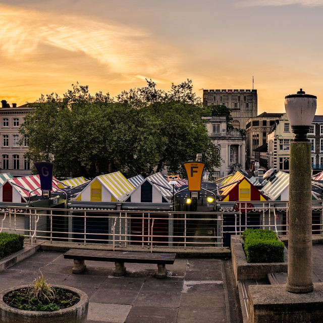 """Norwich Market at Sunrise"" stock image"