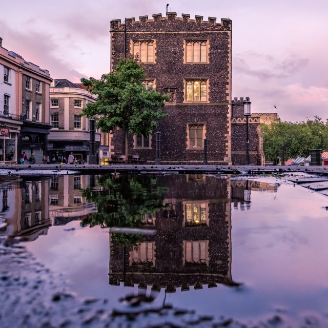 """Guildhall reflection Norwich"" stock image"