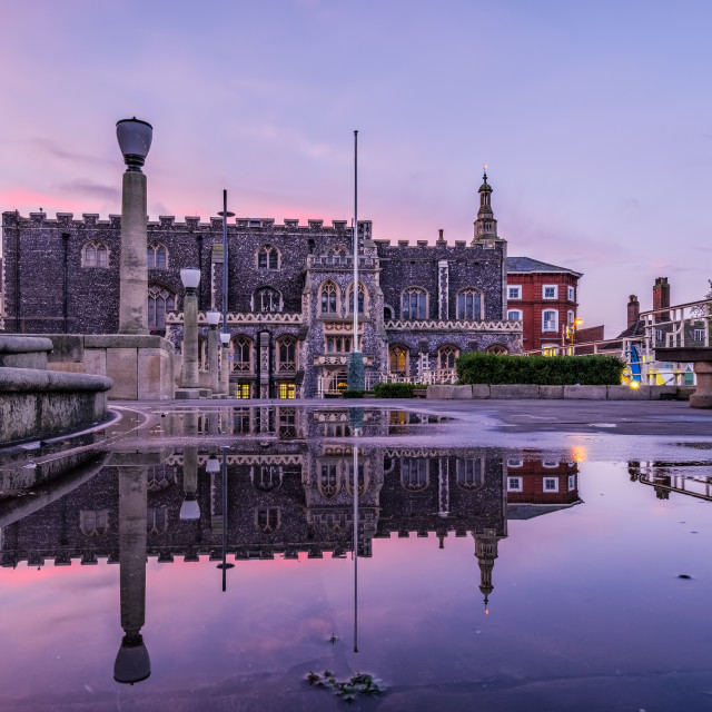"""Guildhall Twilight Reflections"" stock image"