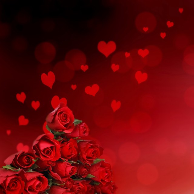 """""""red roses and abstract hearts"""" stock image"""