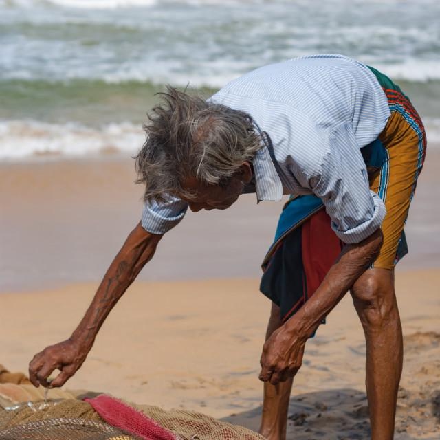 """Sri Lankan fisherman"" stock image"