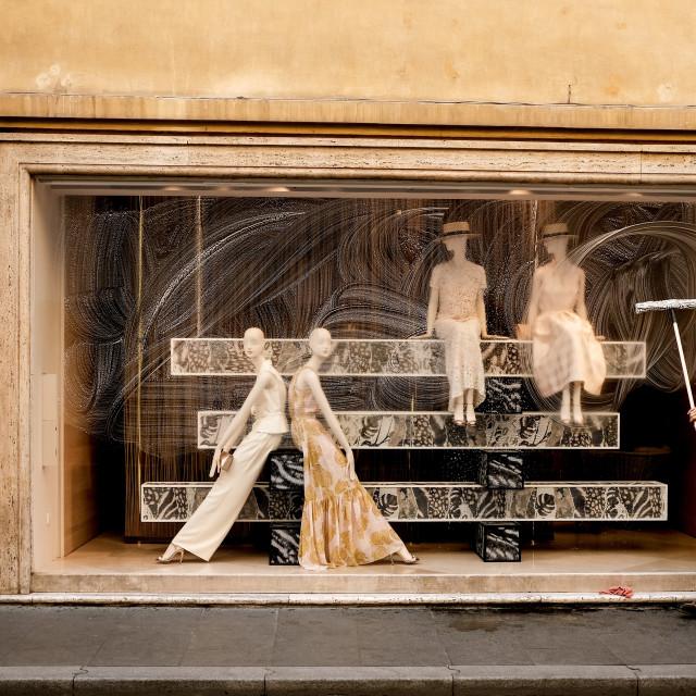 """Rome shopfront window cleaner"" stock image"