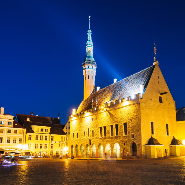 """Tallinn central Town Hall Square by night (Raekoja plats)"" stock image"