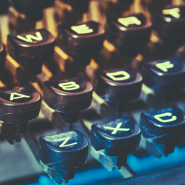"""Close Up Of Antique Typewriter Keys. Old Manual Retro Keys, Vintage Keyboard."" stock image"
