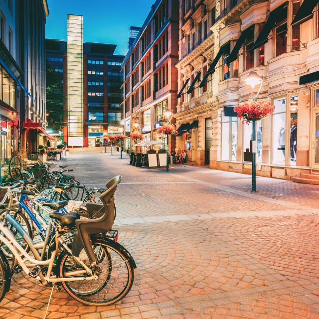 """Helsinki, Finland. Bicycles Parked Near Storefronts In Kluuvikatu Street...."" stock image"